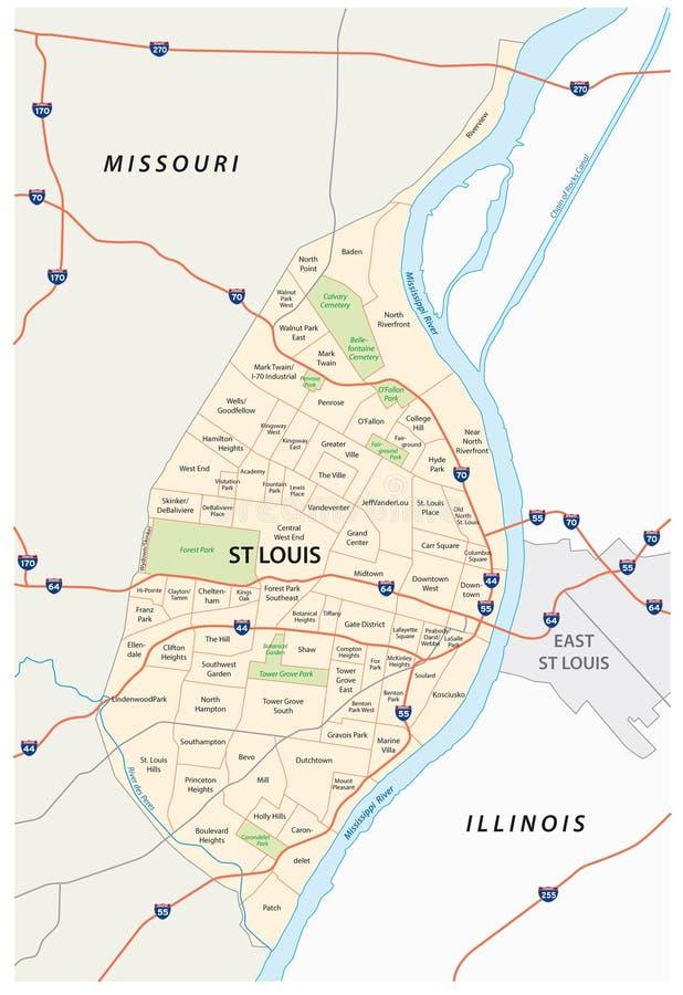 Carte de St Louis illustration stock
