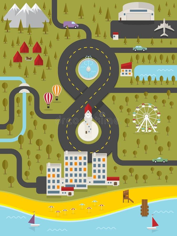 Carte de station touristique illustration de vecteur