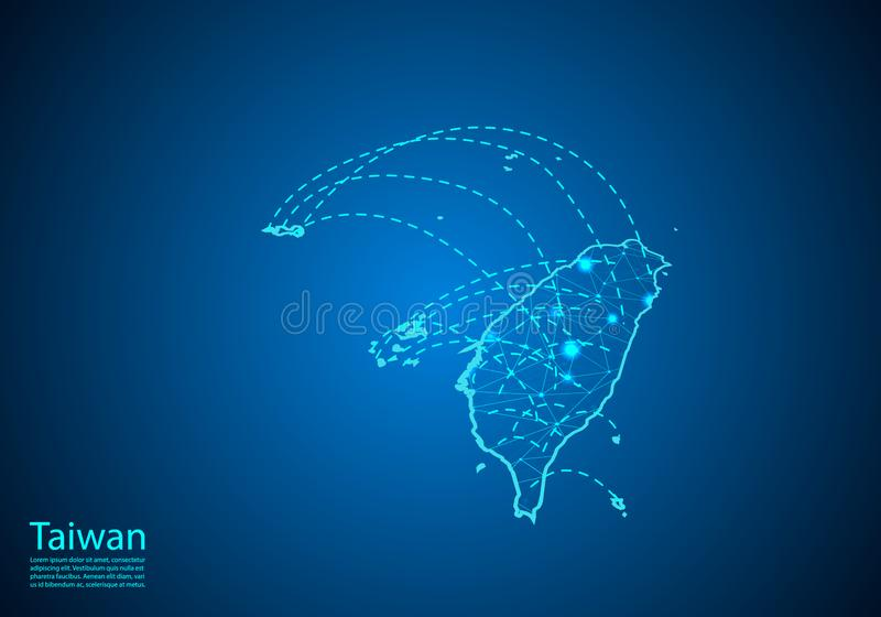 Carte de Taïwan avec des noeuds liés par des lignes concept de télécommunication mondiale et d'affaires Carte foncée créée des po illustration stock