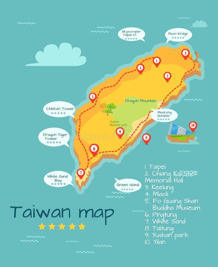 Carte de Taïwan de bande dessinée avec l'illustration célèbre d'endroits illustration stock