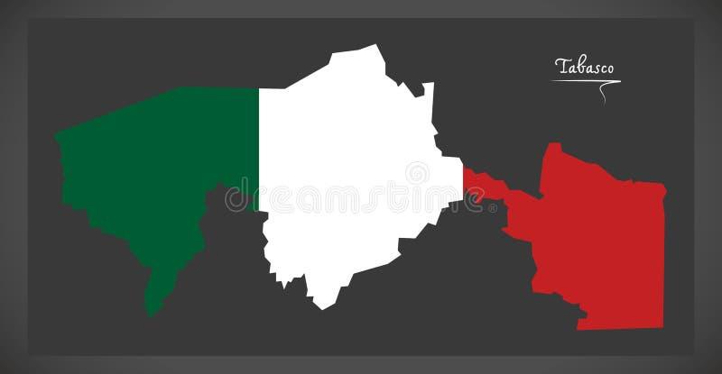 Carte de Tabasco avec l'illustration mexicaine de drapeau national illustration stock