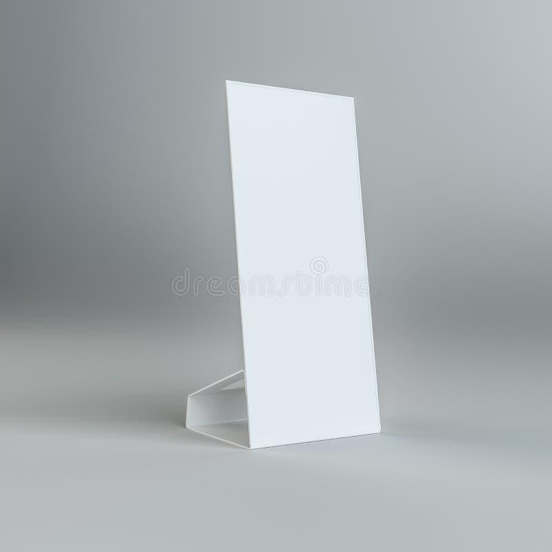 Carte de table de papier blanc dessus sur le fond gris illustration libre de droits