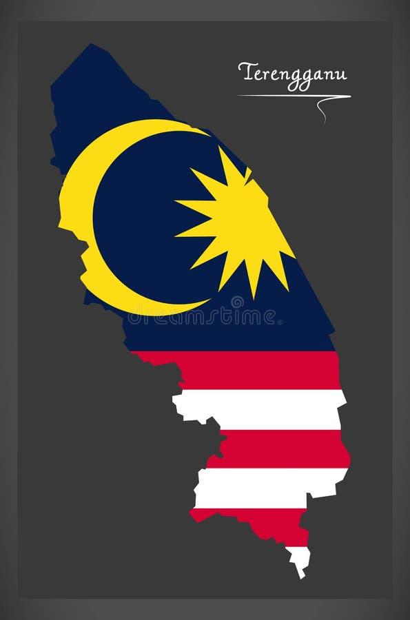 Carte de Terengganu Malaisie avec l'illustratio malaisien de drapeau national illustration de vecteur