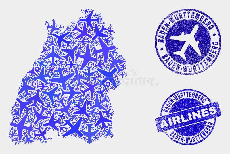 Carte de terre de Baden-Wurttemberg de vecteur de collage de lignes aériennes et timbres grunges illustration de vecteur