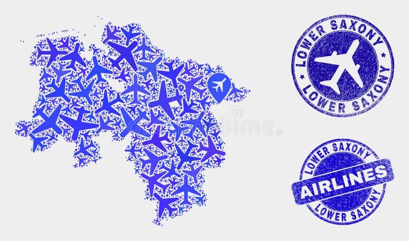Carte de terre de la basse-saxe de vecteur de collage d'avion d'air et timbres grunges illustration de vecteur