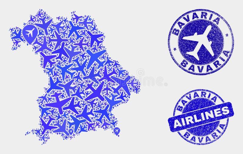 Carte de terre de la Bavière de vecteur de composition en avion et timbres grunges illustration stock