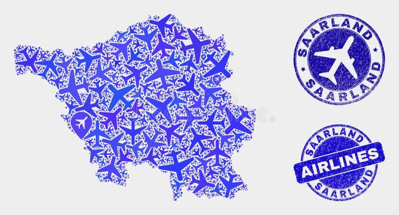 Carte de terre de Sarre de vecteur de composition en ligne aérienne et timbres grunges illustration libre de droits