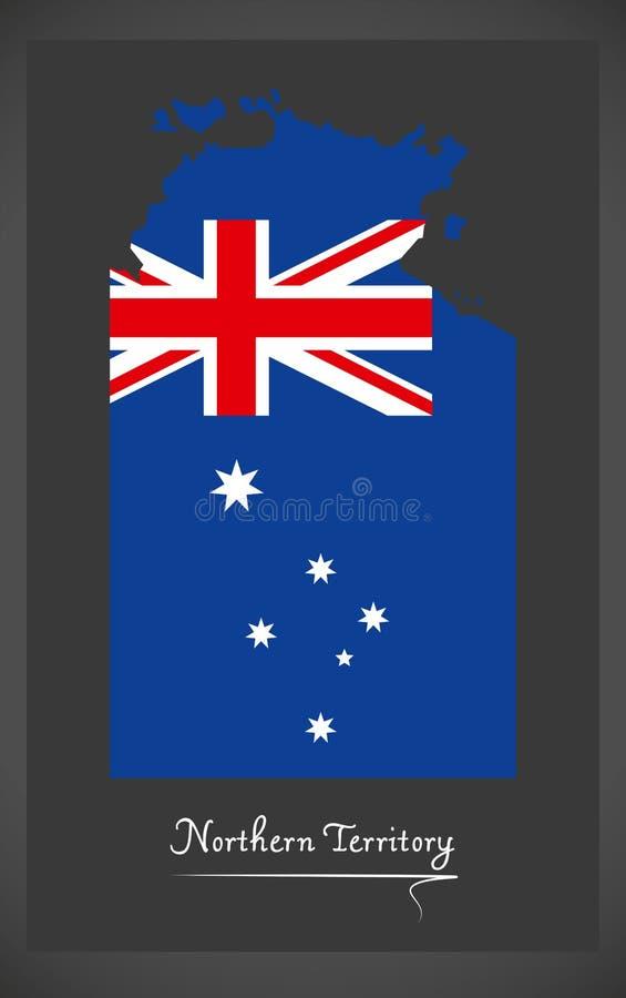Carte de territoire du nord avec l'illustratio australien de drapeau national illustration de vecteur