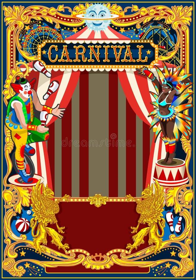 Carte de thème de cirque d'affiche de carnaval illustration de vecteur