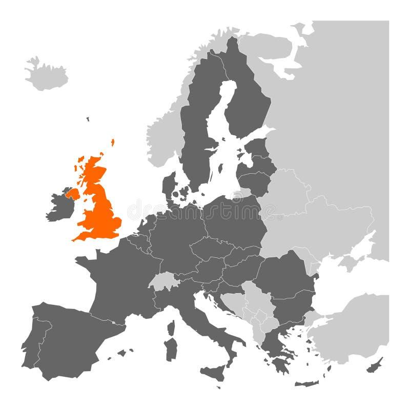 Carte de thème de Brexit - Union européenne avec le Royaume-Uni accentué illustration libre de droits