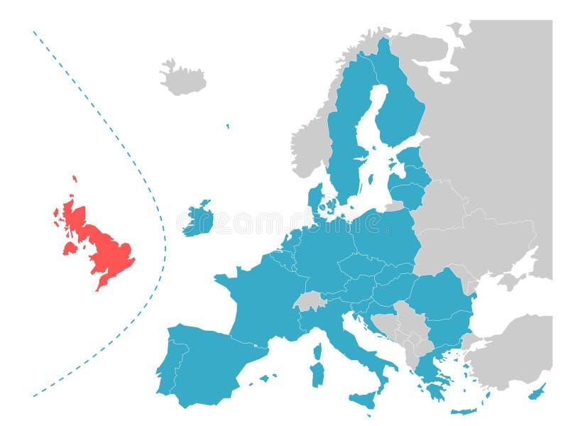 Carte de thème de Brexit - Union européenne avec le Royaume-Uni accentué illustration de vecteur