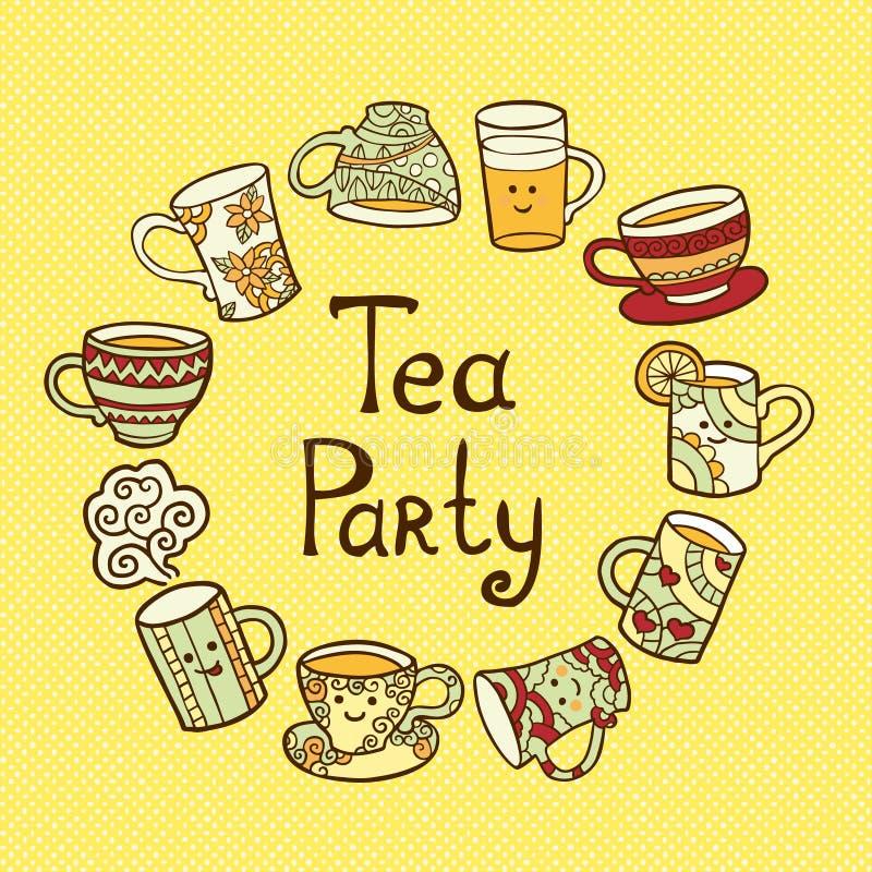 Carte de thé avec des tasses de griffonnage illustration libre de droits