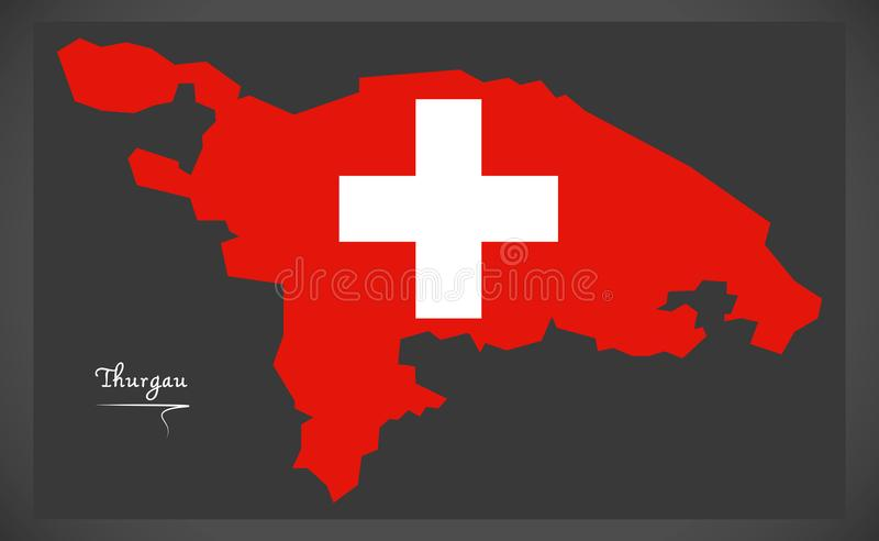 Carte de Thurgau de la Suisse avec l'illustration suisse de drapeau national illustration de vecteur