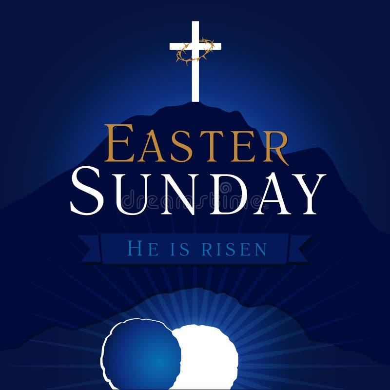 Carte de tombe de calvaire de semaine sainte de dimanche de Pâques illustration libre de droits