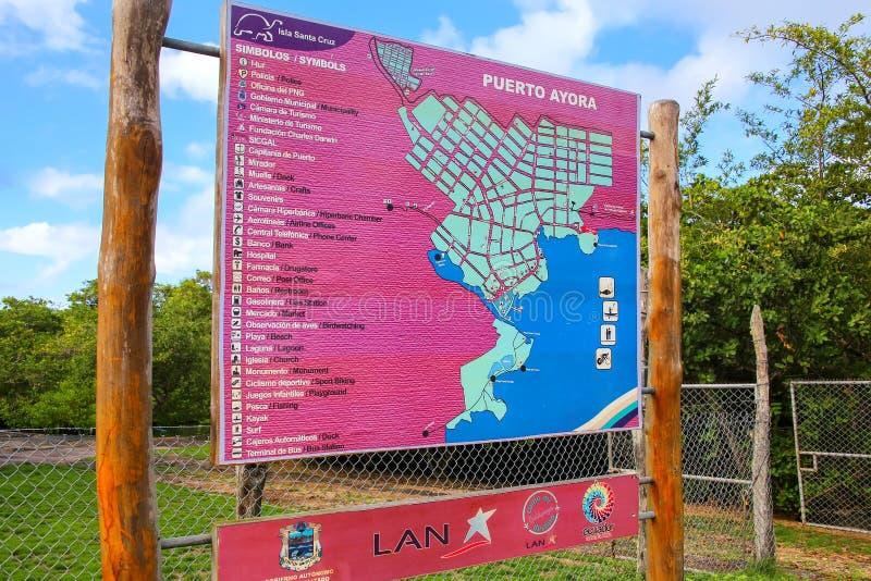 Carte de touristes de Puerto Ayora sur Santa Cruz Island, Equateur image stock