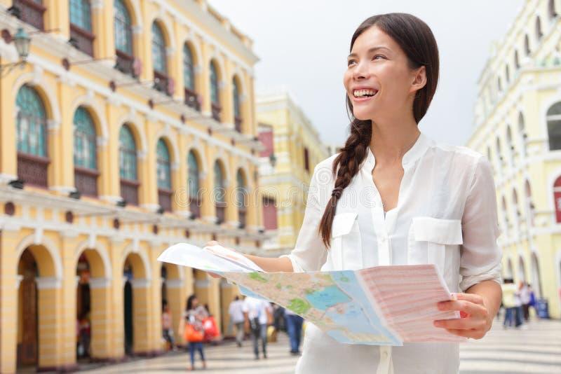 Carte de touristes de voyage de participation dans Macao images libres de droits