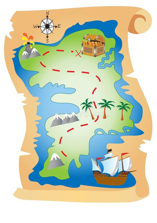 Carte de trésor de pirate illustration stock