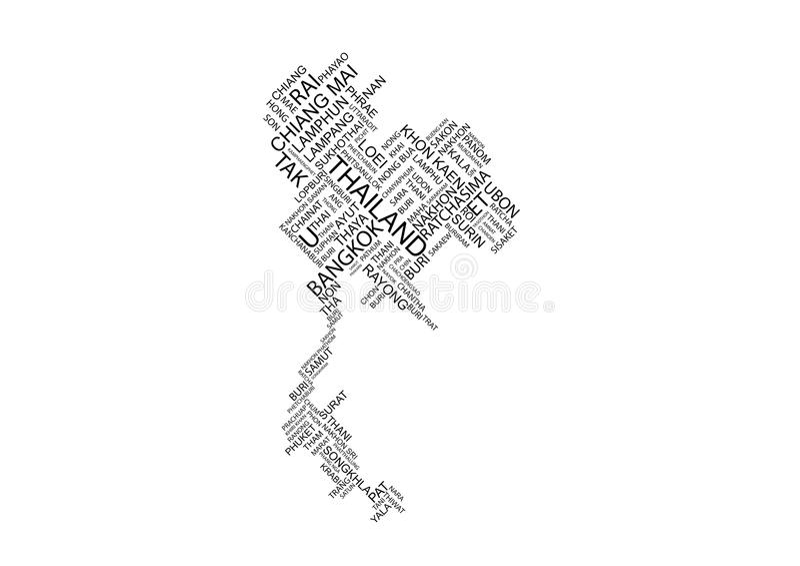 Carte de typographie de la Thaïlande image stock
