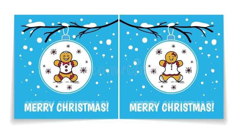 Carte de vacances avec des boules de Noël sur la branche neigeuse Illustration avec le bonhomme en pain d'épice et la femme Couve illustration libre de droits