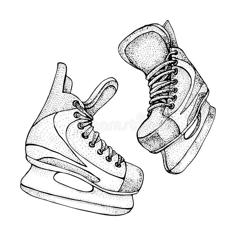 Carte de vacances d'hiver avec le croquis de bande dessinée de raies de glace Patins de hockey sur glace Illustration tirée par l illustration libre de droits