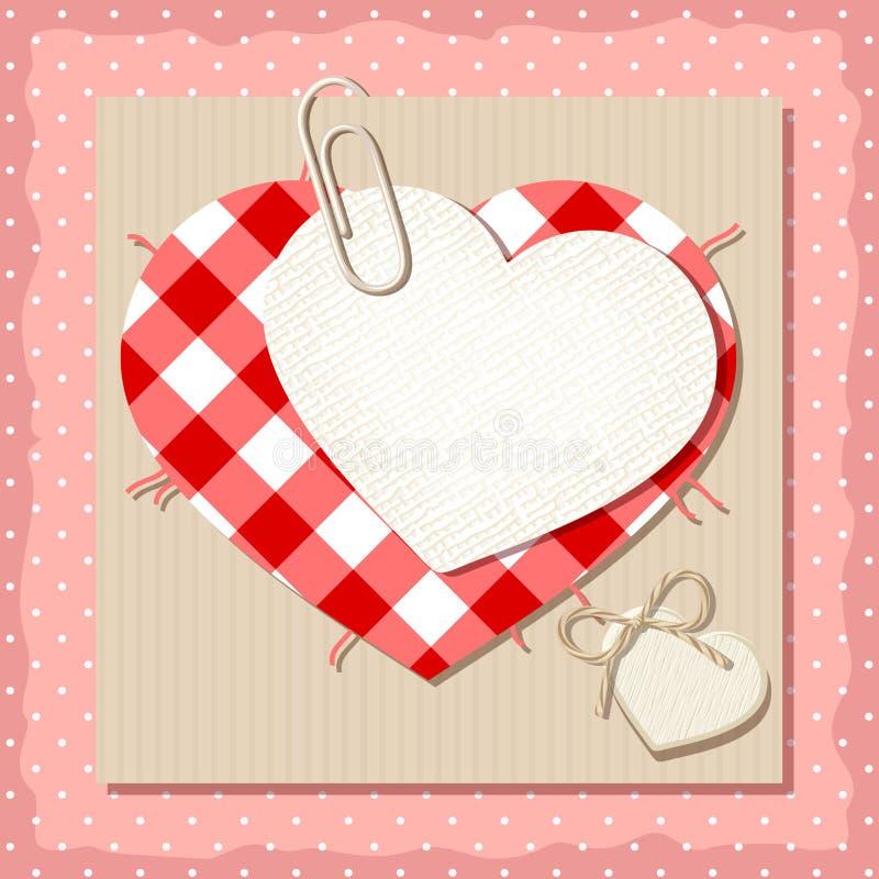 Carte de Valentine avec des coeurs de tissu Vecteur EPS-10 illustration libre de droits