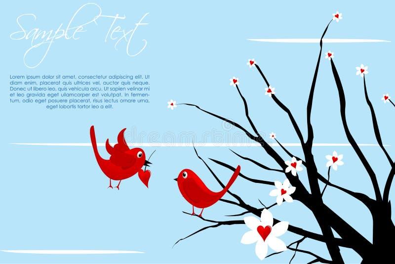 Carte de Valentine avec des oiseaux illustration libre de droits