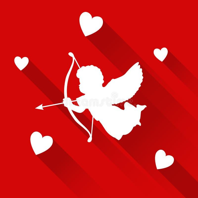 Carte de Valentine avec la silhouette du cupidon d'ange, coeurs, icône illustration stock