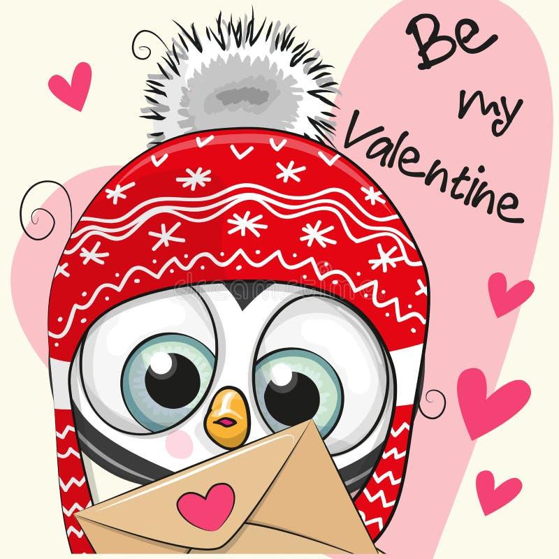 Carte de Valentine avec le pingouin mignon de bande dessinée illustration libre de droits