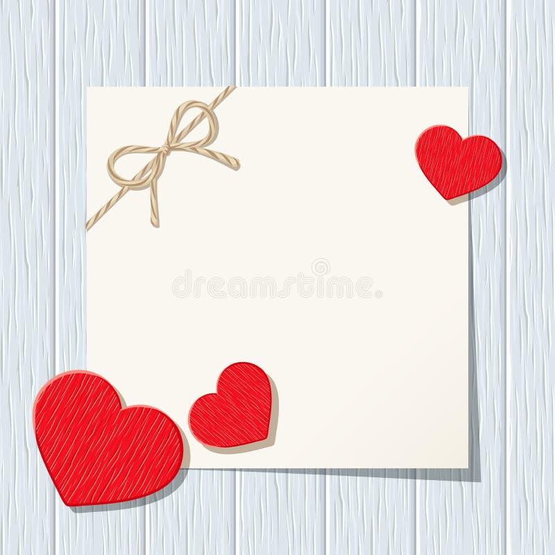 Carte de Valentine avec les coeurs rouges sur un fond en bois bleu Vecteur EPS-10 illustration de vecteur