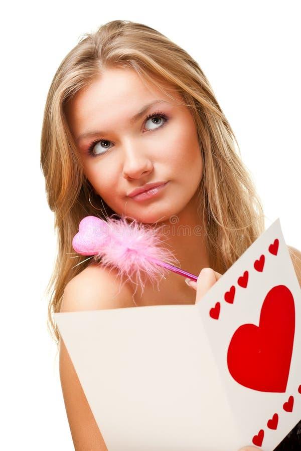 Carte de valentine d'écriture de femme photos stock
