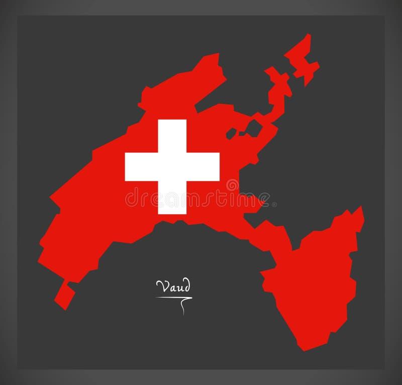 Carte de Vaud de la Suisse avec l'illustration suisse de drapeau national illustration libre de droits