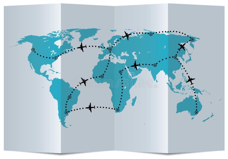 carte de vecteur avec des trajectoires de vol d'avion illustration stock