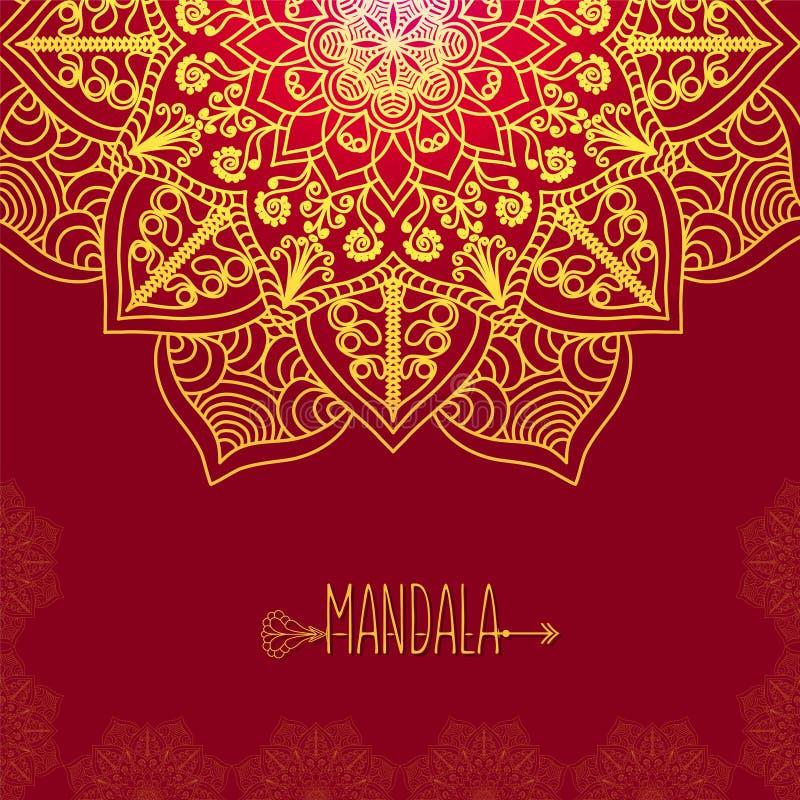 Carte de vecteur avec le mandala de lueur Fond de vecteur Decorat ethnique illustration de vecteur