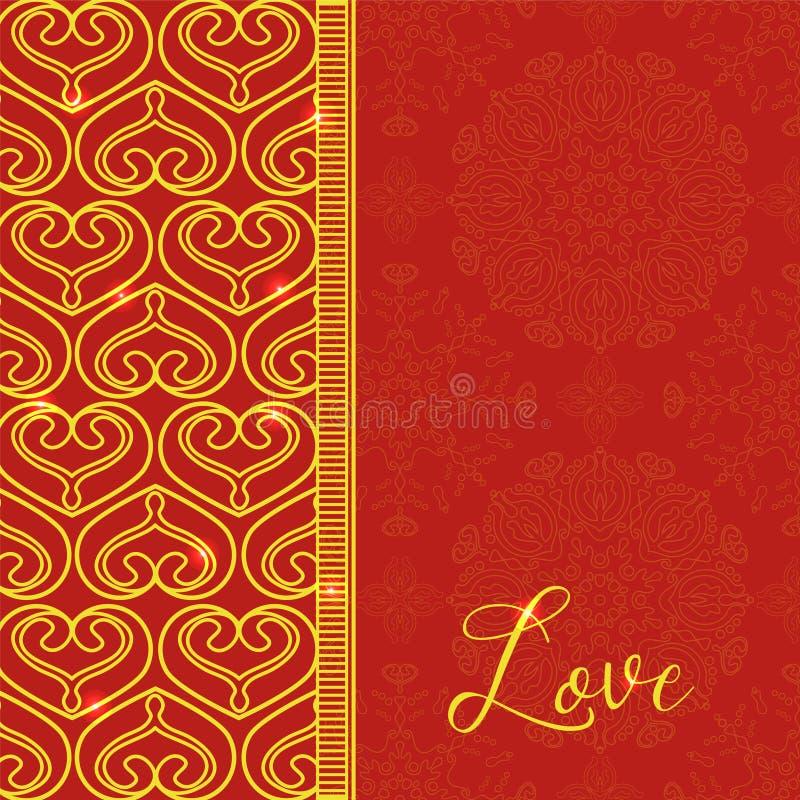 Carte de vecteur avec les coeurs décoratifs Fond d'or de vecteur Et illustration libre de droits
