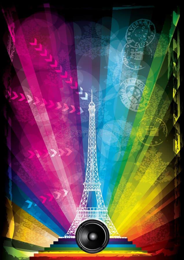 Carte de vecteur avec Tour Eiffel et les lampes au néon illustration libre de droits