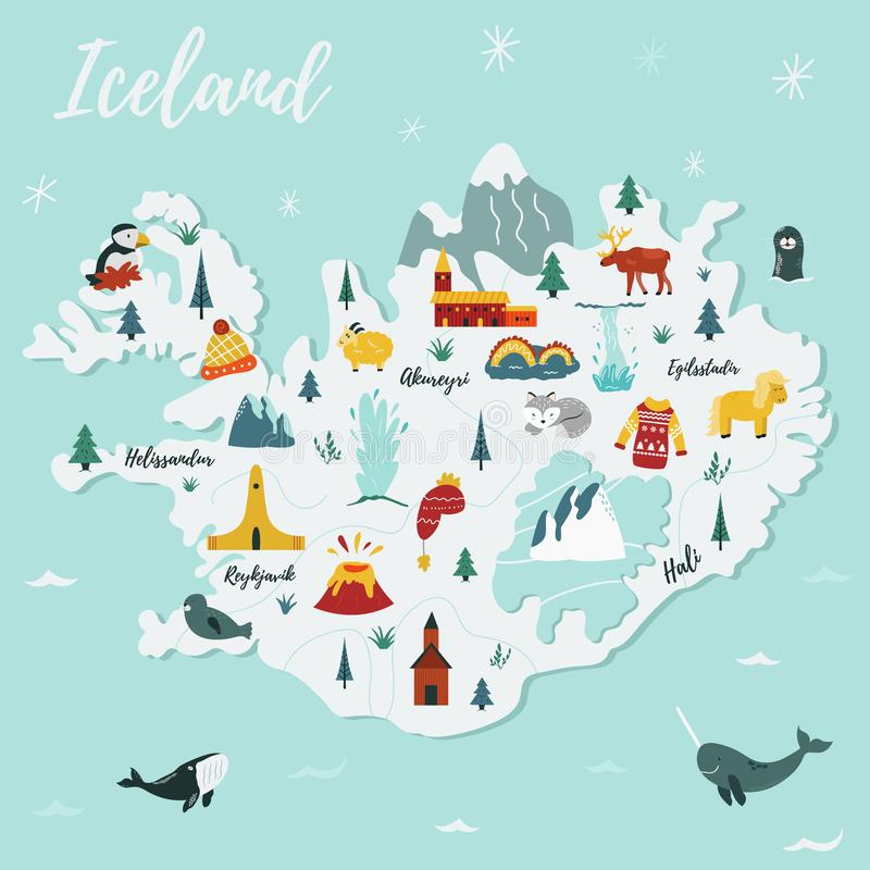 Carte de vecteur de bande dessinée de l'Islande Illustration de course illustration libre de droits