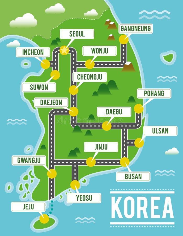 Carte de vecteur de bande dessinée de la Corée du Sud Illustration de voyage avec les villes principales sud-coréennes illustration stock
