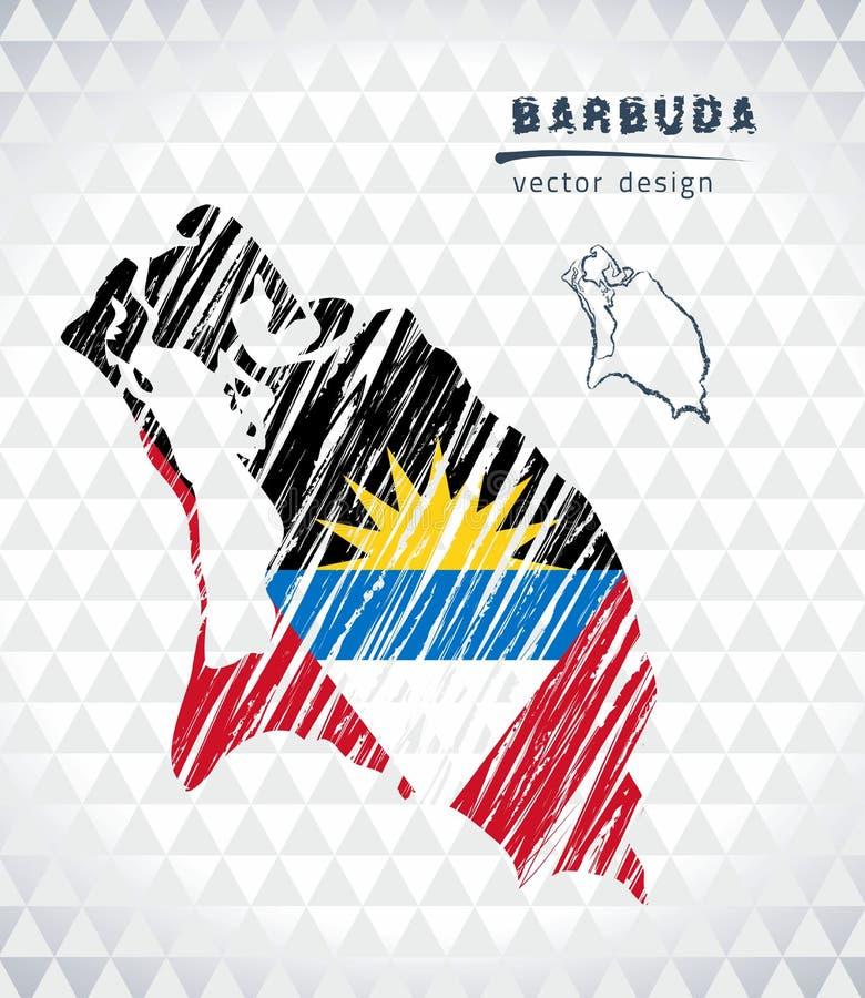 Carte de vecteur de Barbuda avec l'intérieur de drapeau d'isolement sur un fond blanc Illustration tirée par la main de craie de  illustration stock