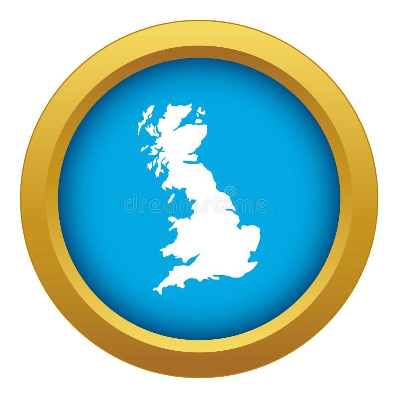 Carte de vecteur bleu d'icône de la Grande-Bretagne d'isolement illustration stock