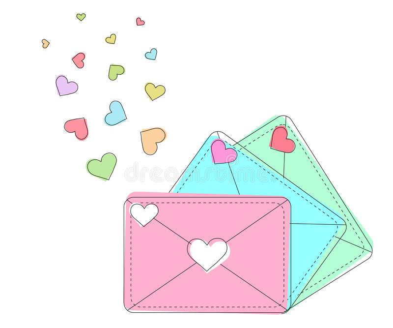 Carte de vecteur de cru des enveloppes multicolores avec des coeurs sur une carte de voeux transparente de fond, d'invitation ou  illustration de vecteur
