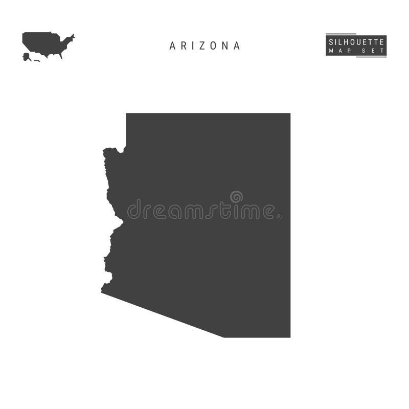 Carte de vecteur d'état de l'Arizona USA d'isolement sur le fond blanc Carte noire Haut-détaillée de silhouette de l'Arizona illustration stock