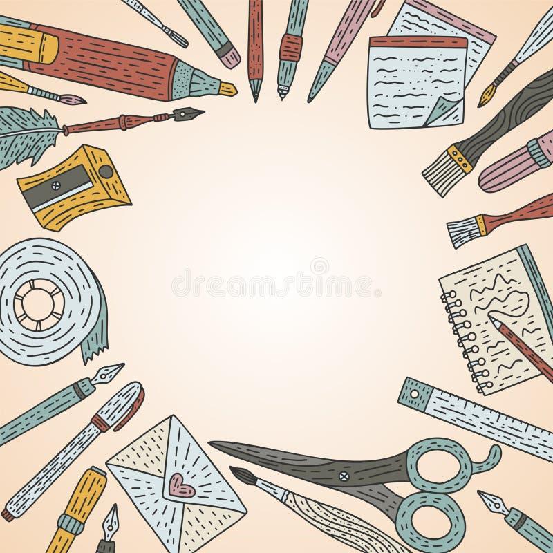 Carte de vecteur d'accessoires d'écriture Approvisionnements de dessin de couleur de griffonnage pour l'école et l'art illustration stock