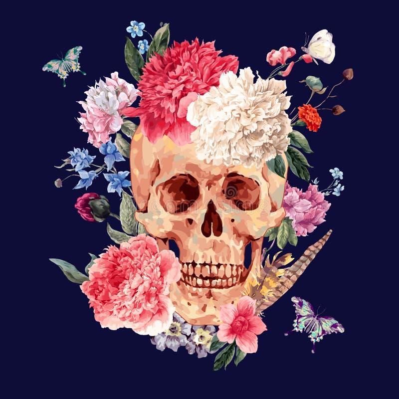 Carte de vecteur d'aquarelle avec le crâne et la pivoine rose illustration libre de droits