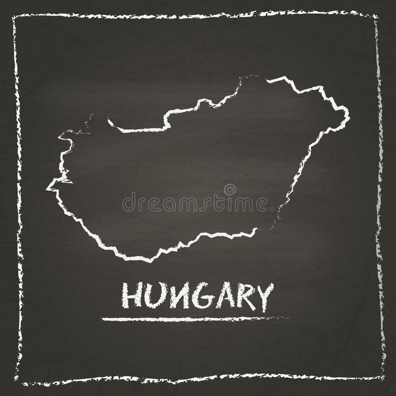 Carte de vecteur d'ensemble de la Hongrie tirée par la main avec la craie illustration de vecteur