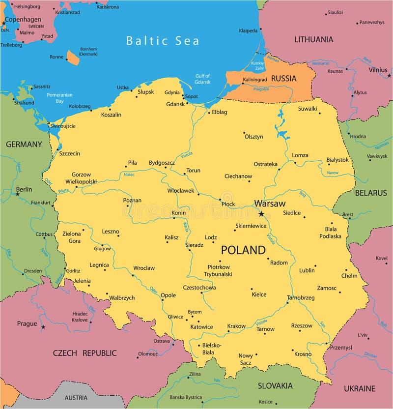 Carte de vecteur de la Pologne illustration stock