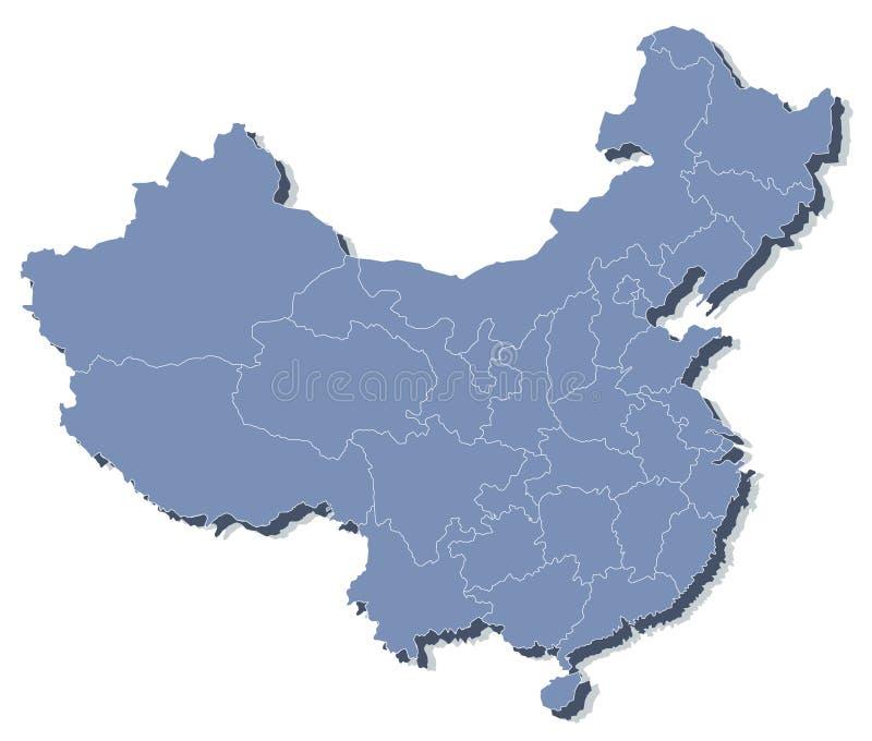 Carte de vecteur de la République populaire de Chine (RPC) illustration stock