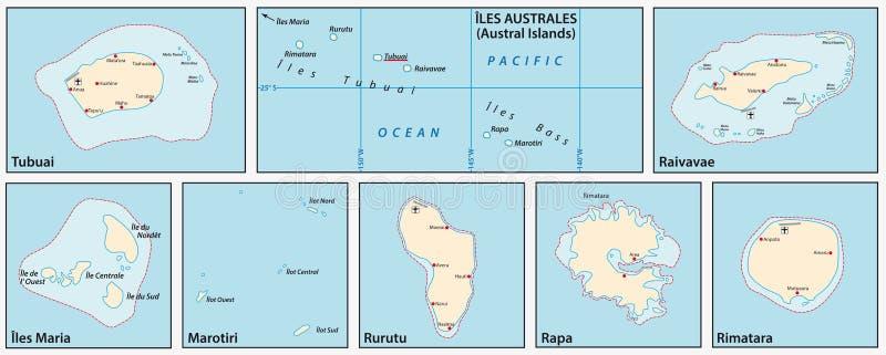 Carte de vecteur des îles d'austral dans l'océan pacifique du sud, Polynésie française, France illustration libre de droits