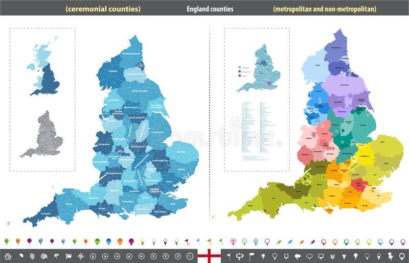 Carte de vecteur des comtés de l'Angleterre illustration libre de droits