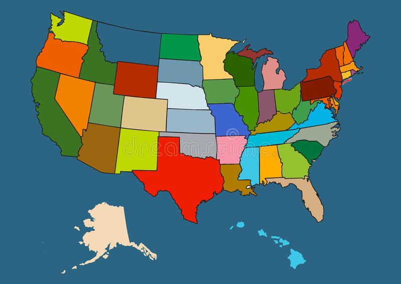 Carte de vecteur des USA illustration de vecteur
