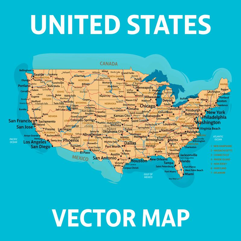 Carte de vecteur des USA les ?tats de carte de l'Am?rique ont uni Haut detalization illustration de vecteur